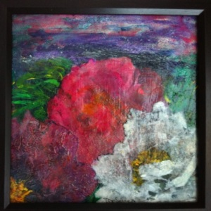 DeSERRES Peonies at Dawn Mixed Media on Canvas 12 x 12 4,000.