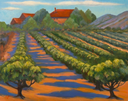 "ANN GORES ""Cherry Orchard - Les Baux, France""  Oil on Canvas 24"" x 30"""