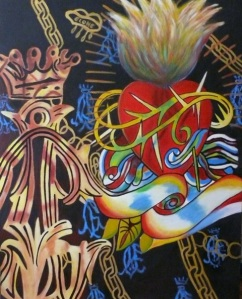 HERREROS Demasiado Corazon Oil on Canvas 39.4 x 31.5