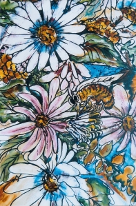 HICKEY Busy Bee Watercolor on Canvas 36 x 24