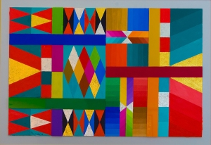 "HARRY DOOLITTLE""Infinity Explained""Acrylics, Glass, Brass, and Aluminum Leaf on Canvas Board33"" x 43"""
