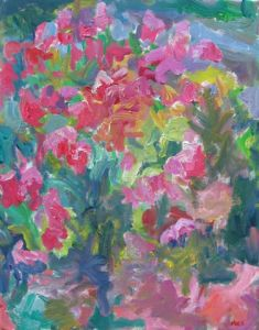 MARX Sea of Red FLowers Acrylic on Canvas 30 x 24