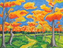 PETERS A Fall Walk Oil on Canvas 16 x 20