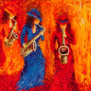 POLIQUIN Jazz aux feminins Acrylic on Canvas 24 x 24