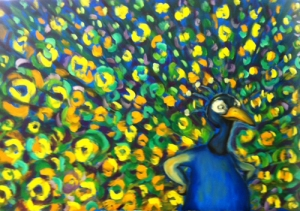 TOIVANEN Peacock Oil on Canvas 23.6 x 39.4