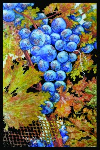 "KAREN CEOLLA TYLEC""Vendemmia III (Grape Harvest III)""Watercolor and Gouache on Polypropylene9"" x 6"""